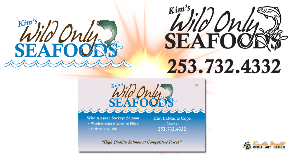 Kim's Wild Seafoods Logo, Rubber Stamp & Business Cards